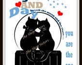 Cats Love Valentine's Day Print Wall Art Silhouette 8 x 10 Romantic FREE SHIPPING