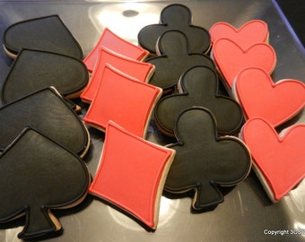 Casino, Game, or Poker Night mini platter pack 2 dozen Decorated sugar Cookies (#2329)