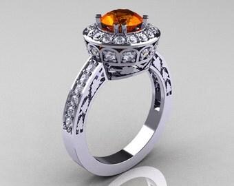 Classic 14K White Gold 1.0 Carat Orange Sapphire Diamond Wedding Ring, Engagement Ring R199-14KWGDOS
