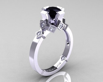 Modern Bridal 14K White Gold 1.0 Black and White Diamond Solitaire Ring R240-14KWGDBD