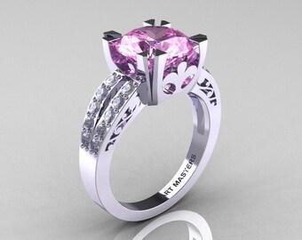 Modern Vintage 14K White Gold 3.0 Carat Light Pink Sapphire Diamond Solitaire Ring R102-14KWGDLPS