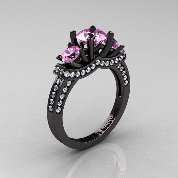 French 14k Black Gold Three Stone Light Pink Sapphire Diamond