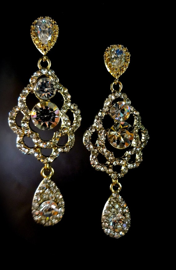 Gold Chandelier Earrings Bridal Jewelry Long Rhinestone