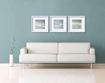 Abstract light photography set of 3 8x8 nautical decor ocean fine art vintage inspired beach ocean photography pastel bokeh Project Runway