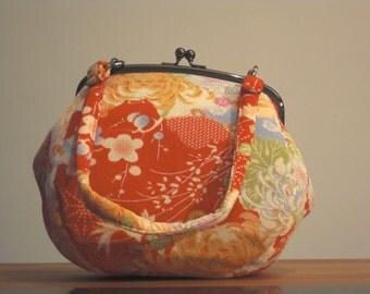 Kimono Chirimen Clutch - Red