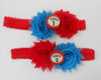 Thing One and Thing Two Shabby Flower Headband Set