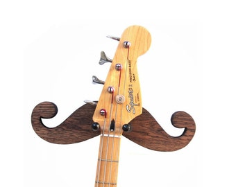 MUSTACHE GUITAR HANGER  / Handmade Wood Guitar Hanger / Wood Burned