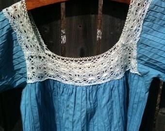 Vintage Pintuck and Crochet Tunic