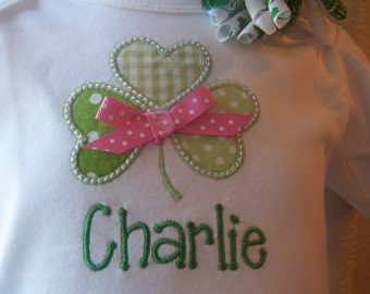 St. Patrick's Day one piece or Bodysuit, Girl or Boy Outfit, Shamrock Green with Pink bow