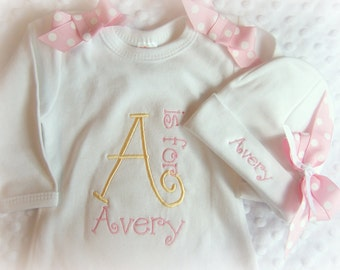 Personalized Coming Home outfit, Take  Home From Hospital Outfit,  Layette Gown, or one piece and Hat Set, Girls Coming Home outfit