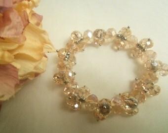Sparkling Pale PINK SWAROVSKI Crystals STRETCH Bracelet- Birthday Gift Her Teen Preteen Mom Mother. Wedding Anniversary Women's Jewelry Mum