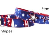 Cute Patriotic Dog Collar in Red White and Blue - Stars and Stripes (choice of design)