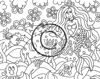 instant pdf digital download coloring page hand drawn psychedelic mermaid with whale you are loved - Psychedelic Hippie Coloring Pages