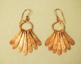 Copper Feathered Forged Earrings