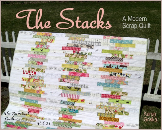 The Stacks Quilt Pattern, Modern Scrap Quilt Pattern, Easy Quilt, PDF, Instant Download, qtm