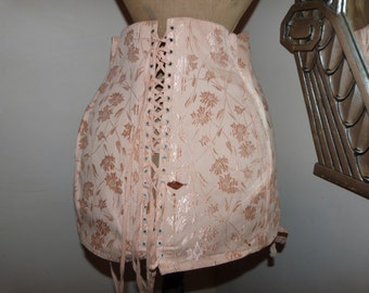 Antique French stays corset garter w bones peach w satin 1920s lingerie boned Victorian corset, pin up, lace up steampunk clothing