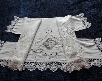 Antique childbirth linen top sheet border handmade needle lace Richelieu French embroidery floral lace swan, white romantic 1800s bed linens
