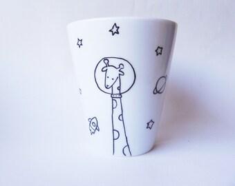 Limited edition Space Giraffe, hand painted white porcelain mug - coffee mug