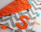 Personalized Chevron baby blanket - Orange Gray - lovey travel minky shower gift nursery monogram intial elephant - LilKingdom