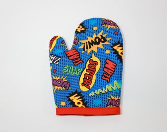 SUPERHERO play oven mitt for your little hipster cool retro fun gift kids boys