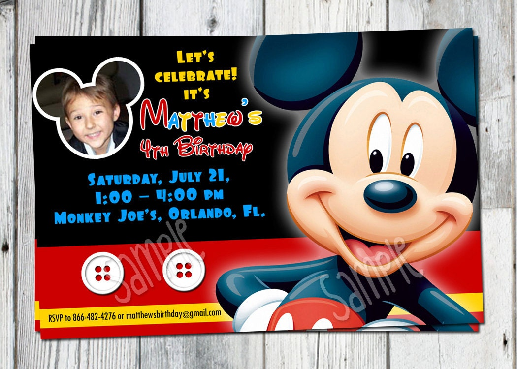 Mickey Mouse Birthday Invitation: Printable Boys Personalized