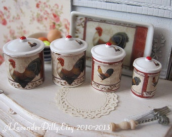 Merritt Rooster Kitchen Dollhouse Canisters 1/12 Scale