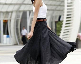 Romantic Maxi Skirt Long Linen Skirt In Black - NC456