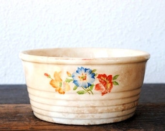"Antique Kitchen Bowl Universal Pottery ""Garden Glory"" Ribbed Refrigerator Jar, Primitive Colorful Flowers"