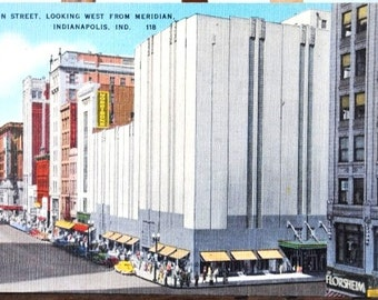 1940s Indianapolis Postcard Indiana, Florsheim Shoe Washington Street Looking West from Meridian, Unused Old Linen
