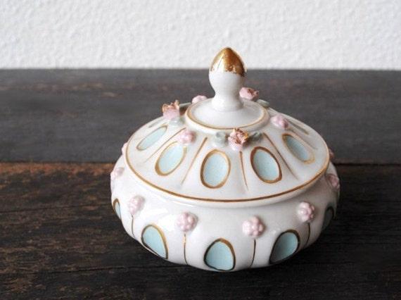 vintage porcelain trinket box pink rose aqua blue vanity
