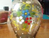 Pretty little Glass Vase Handpainted - Mid Century