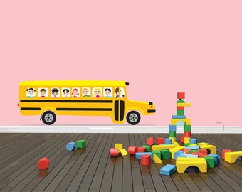 PRESCHOOL MURAL School Bus With Kids Driving Bedroom Living Room Home Deco Peel & Stick Sticker Vinyl Wall Decal 15x50 larg468