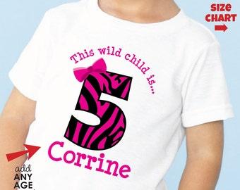 Zebra Birthday Shirt or bodysuit - Personalized Zebra Print Birthday Shirt with Child's Name & Age - Monogram Zoo Birthday Shirt