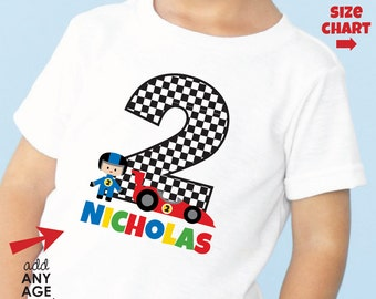 Racecar Birthday Shirt or Bodysuit - Personalized Birthday Shirt with child's age and name