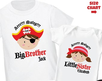 Pirate Big Brother Shirt & Pirate Little Sister Shirt or Bodysuit - 2 Personalized Pirate Shirts