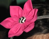 New Handmade CUSTOM MADE  flower headband floral hair hot pink and chevron zigzag  botton fits infant up to girls  so cute