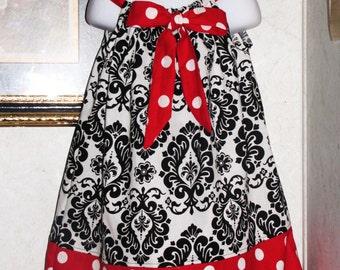 New Handmade damask  polka dot  red white dots ribbon pillowcase dress size 3mos,6ms,9mos,12mos 18mos,24mos,2t,3t,5t add 3.00 for longer