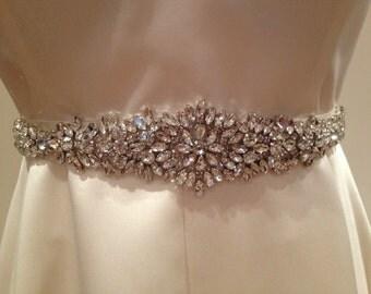 Vintage style crystal motif bridal sash/wedding dress belt