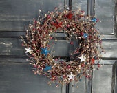 Americana Home Decor - Patriotic Metal Star Pip Berry Wreath  - Americana Wreath  - Primitive Wreaths - Patriotic Home Decor - Gifts
