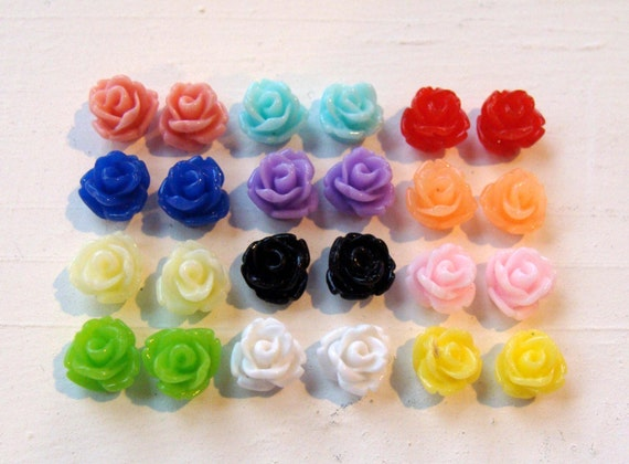 Tiny Rose Resin Flower Cabochon Assorted Set