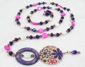 One of a Kind Purple Pink Flower Lariat Necklace Amethyst Fuchsia White Crystal Beads Mother of Pearl Sterling Silver