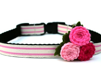 "Pink Flower Dog Collar 5/8"" Small Dog Collar"