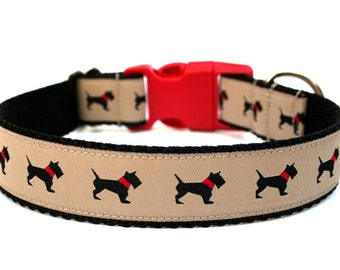 "Scottish Dog Collar 1"" Tan Dog Collar SIZE SMALL"