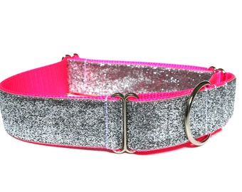 "Hot Pink Dog Collar 1.5"" Neon Pink Dog Collar Martingale SIZE LARGE"