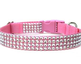 "Rhinestone Dog Collar 3/4"" Pink Dog Collar"