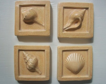 Sea Shell Ceramic Tiles -- Set of 4 in Ivory Beige Glaze -- Sand, seashore, beach -- 2x2 accent tile, IN STOCK