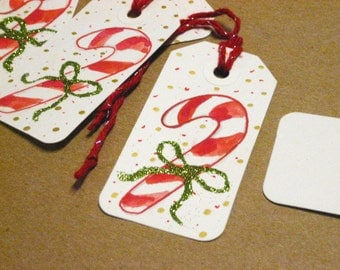 Candy Cane glitter gift tags - set of 8