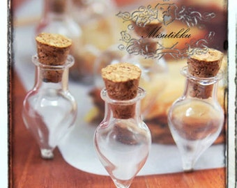 Set of 3 -15 Pcs Small Water Drop Glass Jar Empty Viles Bottles with Corks Tiny Vials Message Ornament Mini Jar W Free Eyehook Screws SP.LD