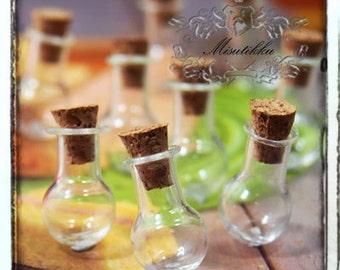 Set of 3-15 Pcs Small Spherical Round Glass Vial Bottle Empty Mini Clear Vial Jars Glass Jar with Corks Lids w Screw eye Charm Hooks SP.LR