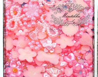 120 PCS X Mix Assorted Set Pink Small Tiny Mini Pearlized items Pearly Heart Flower Daisy Rings Bow Ribbon Cabochon Flat back (GM.ZPM12)